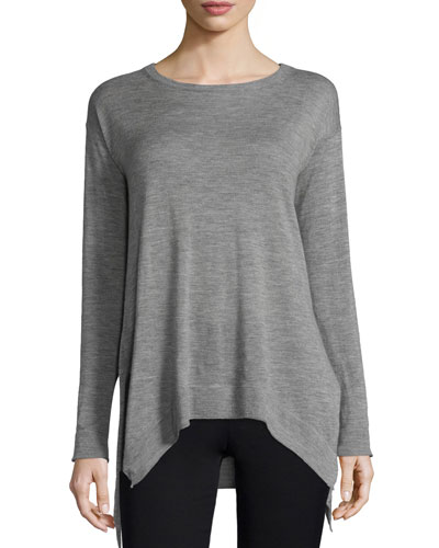 Heathered Cashmere Tunic Sweater, Gray