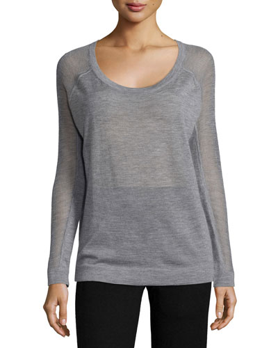 Raglan-Sleeve Cashmere Sweater, Gray