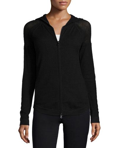 Stretch-Cashmere Zip-Front Hoodie, Black