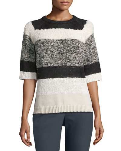 Striped Half-Sleeve Knit Sweater, Cream/Black