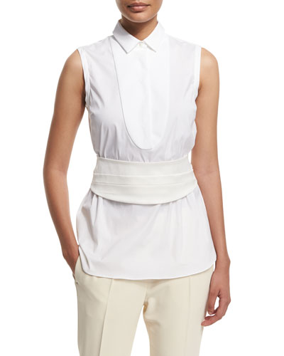 Sleeveless Poplin Blouse w/Cummerbund, White