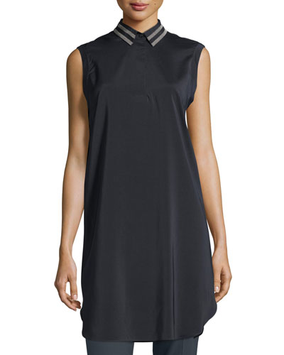 Sleeveless Monili-Collar Tunic, Dark Gray
