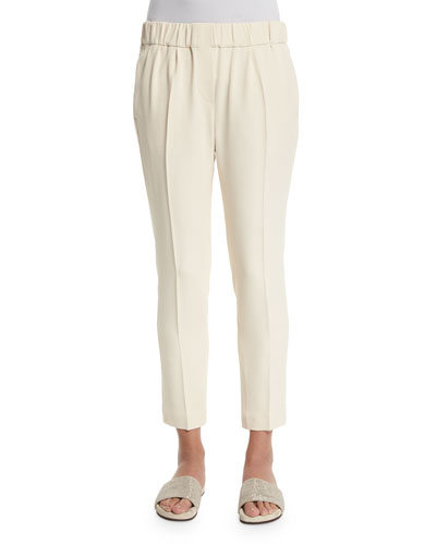 Pleated Linen Pull-On Pants, Cream