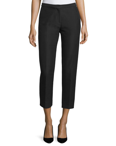 Cady Cropped Straight-Leg Pants, Black