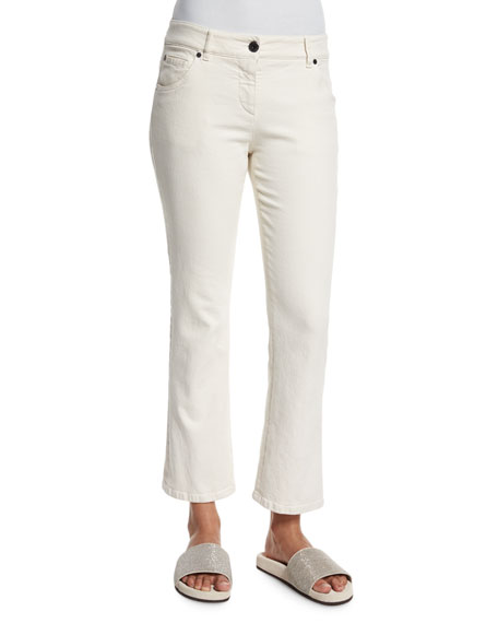Cropped Flare-Leg Denim Jeans, Cream