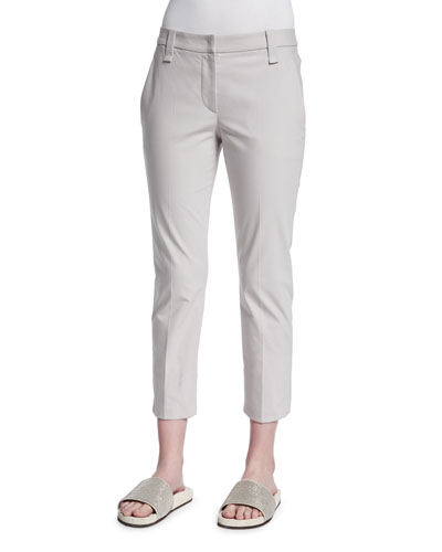 Cropped Stretch-Twill Pants, Light Gray