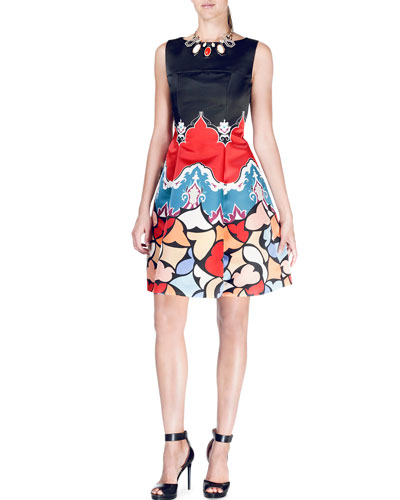 Sleeveless Geometric-Print Duchess Satin Dress, Black