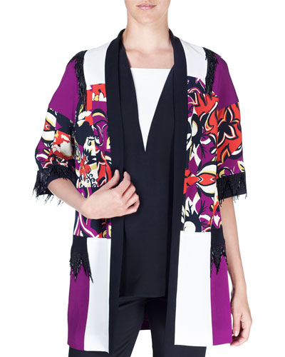 Cubist Floral Embellished Cady Topper Jacket, Purple