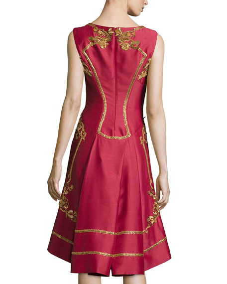 Sleeveless Shantung Cocktail Dress, Red
