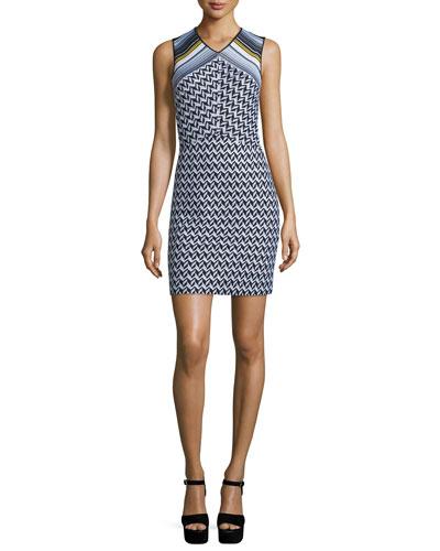 Sleeveless Zigzag Knit Dress, Black/White