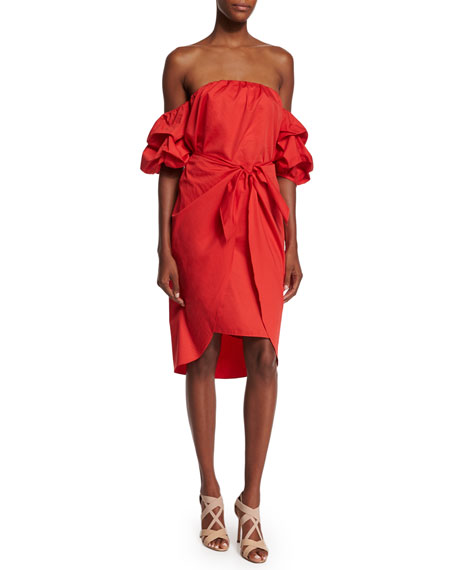 Off-the-Shoulder Puff-Sleeve Wrap Dress, Red