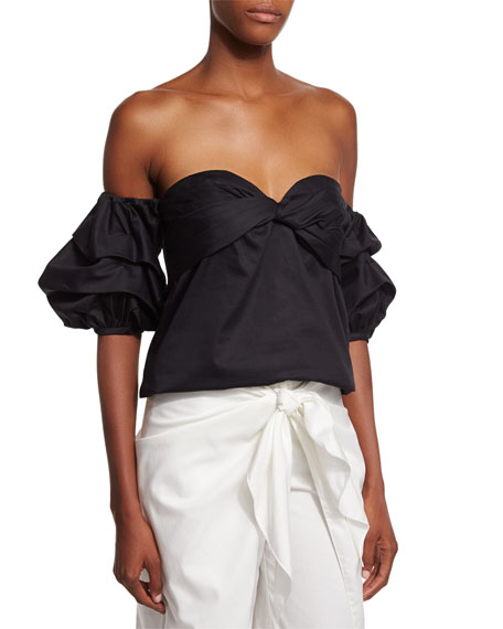 Off-the-Shoulder Sweetheart Cotton Top, Black