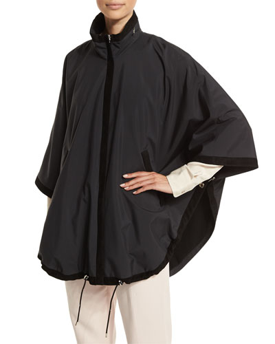 Cashmere-Lined Windmate Cape, Black