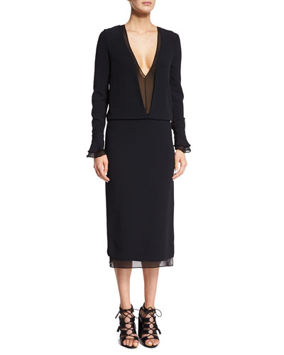 Sheer Plunging Long-Sleeve Dress, Black