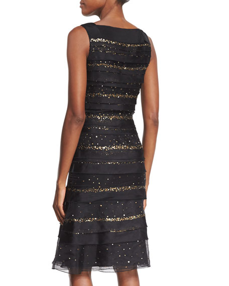 Sequin-Striped Tiered Cocktail Dress, Black
