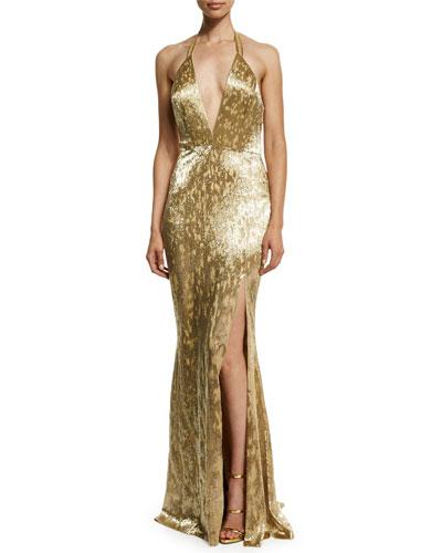Metallic Hand-Beaded Halter Gown, Gold