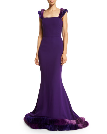 Silk Georgette Gown w/3D Ombre Tulle Trim, Violet