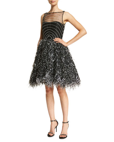 Sleeveless Illusion Organza Cocktail Dress, Black/White