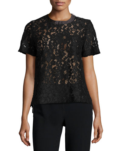 Lace/Georgette Combo Pocket Tee, Black