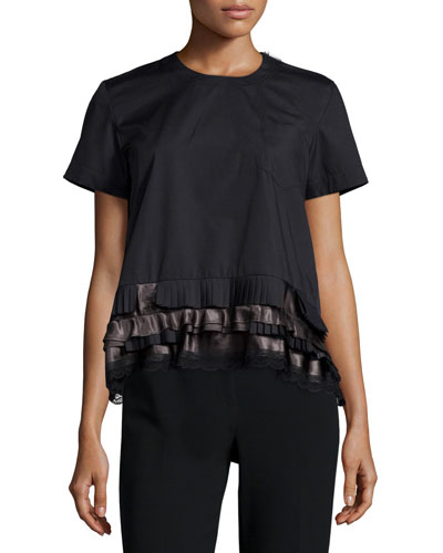Ruffle-Hem Shirting Tee, Black