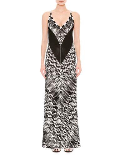 Sleeveless Zigzag Maxi Dress, Black/White