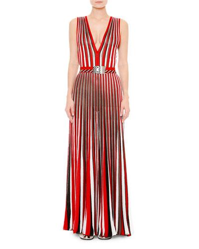 Sleeveless V-Neck Pleated Maxi Dress, Red/Multi