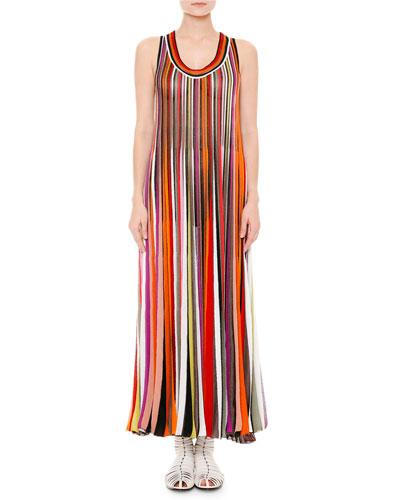 Sleeveless Scoop-Neck Striped Maxi Dress, Multi/Bright/Black