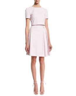 Short-Sleeve Cotton Trompe l'Oeil Dress, Lilac