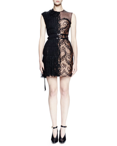 Sleeveless Half-Lace Combo Dress, Black
