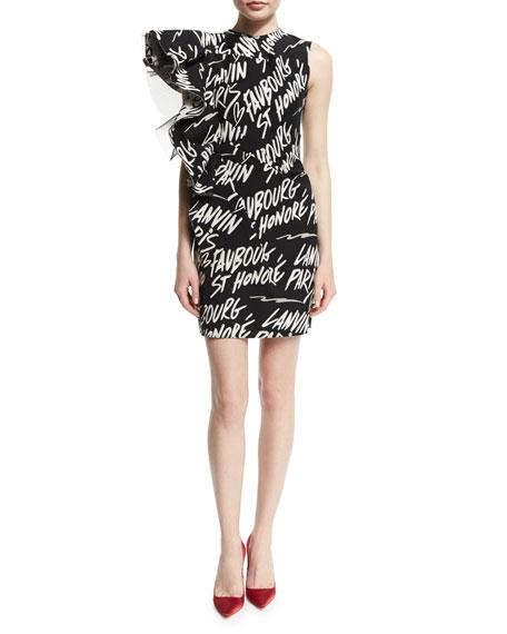 Lanvin Graffiti Asymmetric Ruffle Side Dress Black