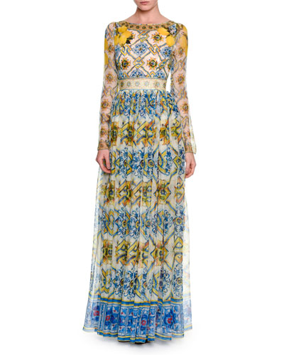 Long-Sleeve Tile-Print Silk Gown, Yellow/Blue