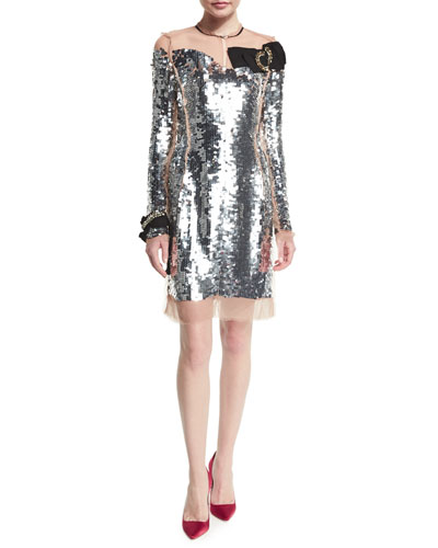 Long-Sleeve Sequined Silk Dress, Nude