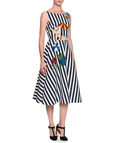Sleeveless Striped Beach-Applique Dress, Black