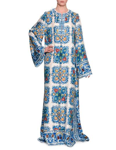Long-Sleeve Tile-Print Silk Jacquard Caftan Gown, Blue