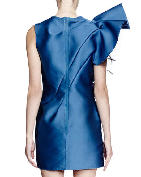 Sleeveless Structured Ruffle Mini Dress Pristine Blue
