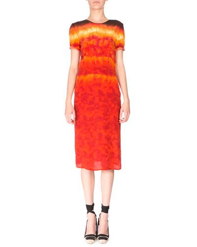 Rolled Short-Sleeve Silk Tie-Dye Midi Dress, Ceramic Orange