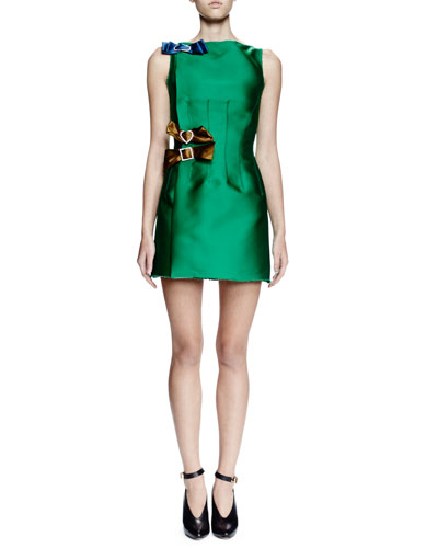 Sleeveless Mini Dress W/Contrasting Bows, Green