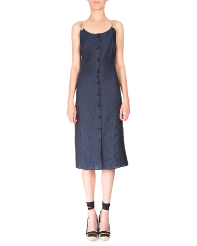 Rope-Strap Button-Down Linen Dress, Navy