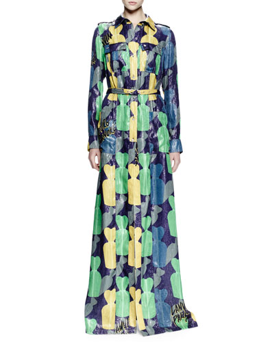 Long-Sleeve Printed Lamé Maxi Dress, Ink