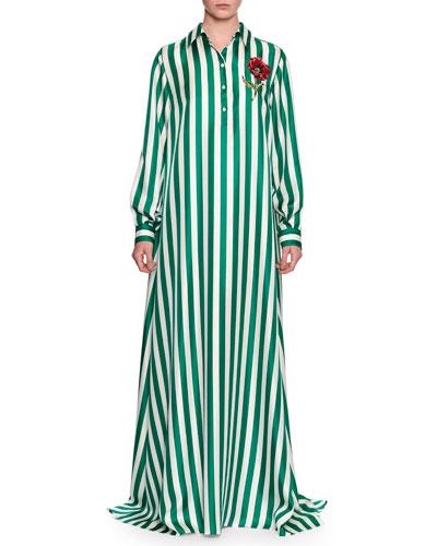 Long-Sleeve Striped Silk Maxi Shirtdress, Green