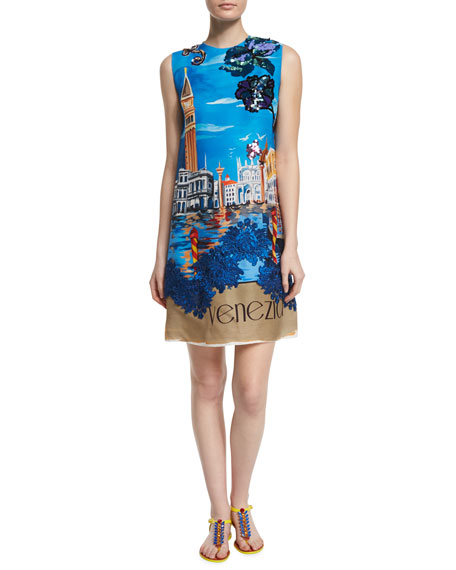 cabdab6d Dolce & Gabbana Venezia Finale Sleeveless Shift Dress, Multi Colors