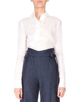 Long-Sleeve Linen Button-Down Shirt, Optic White