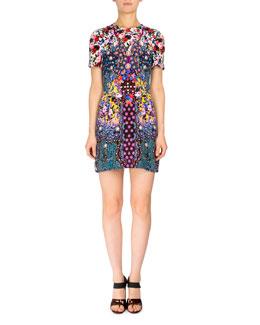 Short-Sleeve Floral-Print Silk Shift Dress, Black
