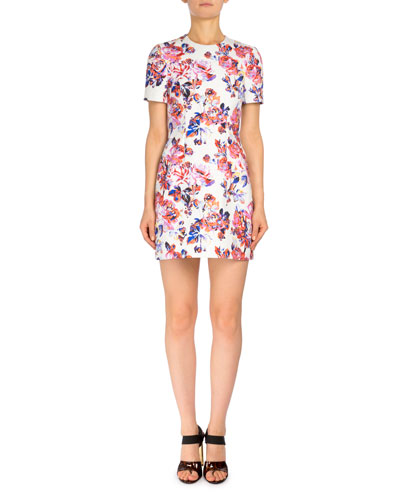 Short-Sleeve Rose-Print Shift Dress, White