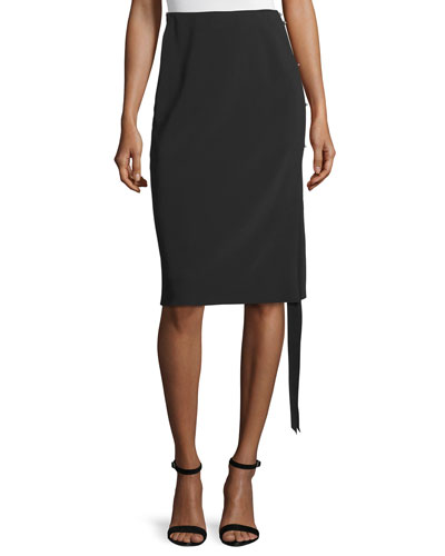 Georgette Pencil Skirt w/Hook-and-Eye Side, Black