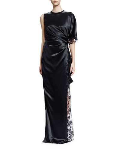 One-Sleeve Ruched Silk Gown, Black