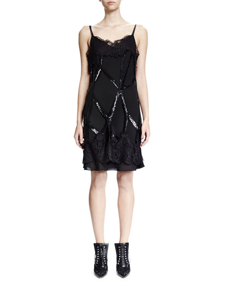 Sleeveless Embellished Cage Sheath Dress, Black