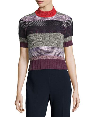 Multi-Knit Mock-Neck Striped Sweater, Multi