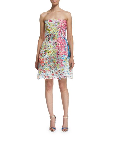 Strapless Fit-&-Flare Lace Mini Dress, Fuchsia/Multi
