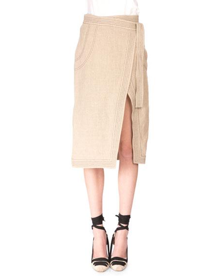 edfec2580572d7 Altuzarra Trapunto-Stitched Linen Wrap Skirt, Burlap